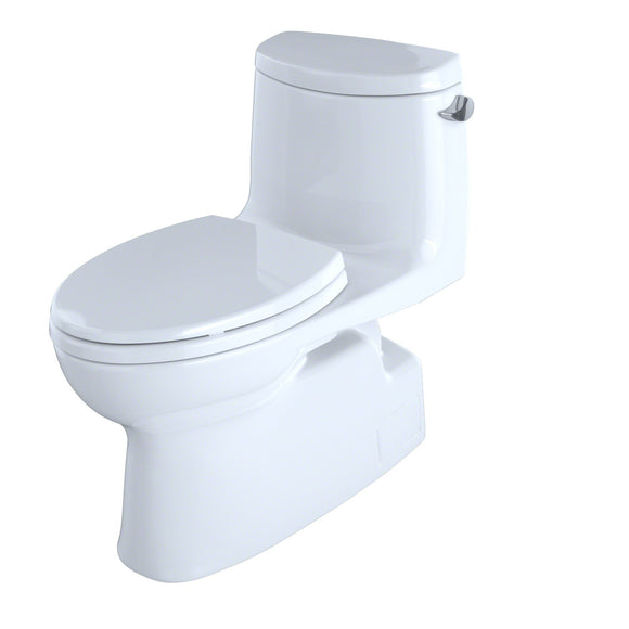 TOTO Carlyle II 1.28 GPF Skirted Toilet with Right Lever and CeFiONtect, White, SKU: MS614114CEFRG#01