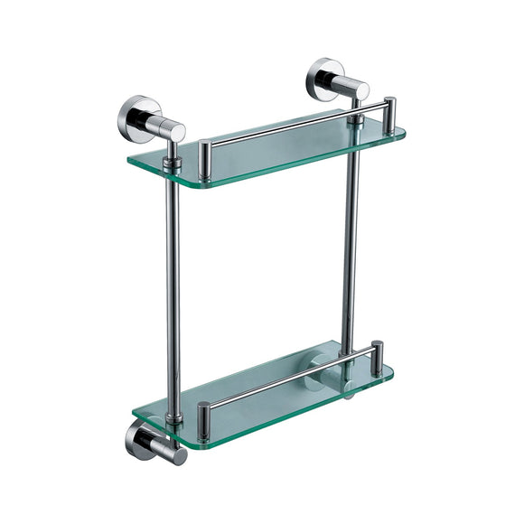 ALFI AB9549 Polished Chrome Wall Mounted Double Glass Shower Shelf Accessory