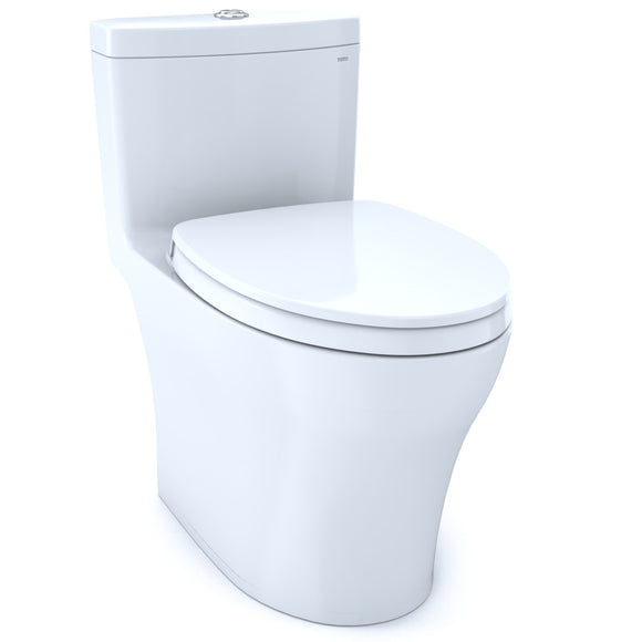 TOTO Aquia IV One-Piece Elongated Dual Flush 1.0 and 0.8 GPF Universal Height, WASHLET+ Ready Toilet with CeFiONtect, Cotton White