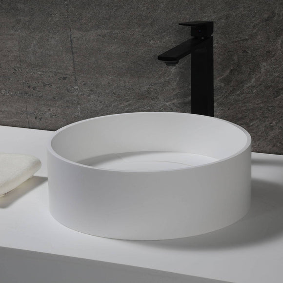 "ALFI Brand ABRS15R 15"" Round White Matte Solid Surface Resin Sink"