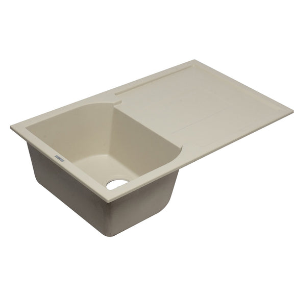 "ALFI AB1620DI-B Biscuit 34"" Single Bowl Granite Composite Sink with Drainboard"