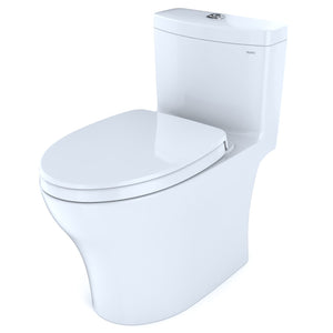 TOTO Aquia IV One-Piece Elongated Dual Flush 1.28 and 0.8 GPF Universal Height, WASHLET+ Ready Toilet with CeFiONtect, Cotton White