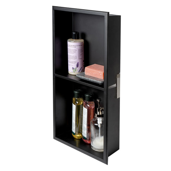 ALFI Brand 12 x 24 Black Matte Stainless Steel Vertical Double Shelf Bath Shower Niche