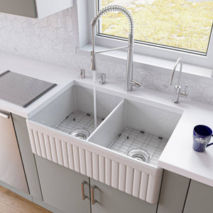 "ALFI AB537-W White 32"" Fluted Apron Double Bowl Fireclay Farmhouse Kitchen Sink"