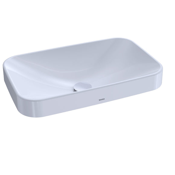 "TOTO Arvina Rectangular 23"" Vessel Bathroom Sink with CeFiONtect, Cotton White, SKU: LT426G#01"