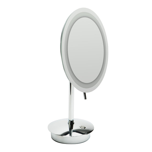 "ALFI Brand ABM9FLED-PCÊPolished Chrome Tabletop Round 9"" 5x Magnifying Cosmetic Mirror with Light"