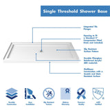 "DreamLine DL-6963C-04CL Visions 36""D x 60""W x 74 3/4""H Sliding Shower Door in Brushed Nickel with Center Drain White Shower Base"