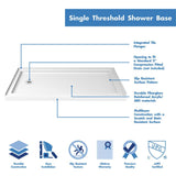"DreamLine DL-6961L-04CL Visions 32""D x 60""W x 74 3/4""H Sliding Shower Door in Brushed Nickel with Left Drain White Shower Base"