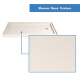 "DreamLine DLT-1134602-22 SlimLine 34""D x 60""W x 2 3/4""H Right Drain Single Threshold Shower Base in Biscuit"