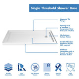 "DreamLine DL-6146R-01 32""D x 60""W x 75 5/8""H Right Drain Acrylic Shower Base and QWALL-3 Backwall Kit In White"