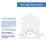 "DreamLine DL-6033-88-01 Prism 42""x 74 3/4""Frameless Neo-Angle Pivot Shower Enclosure in Chrome with Black Base Kit"