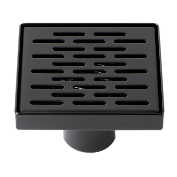 "ALFI Brand ABSD55C-BM 5"" x 5"" Black Matte Square Stainless Steel Shower Drain with Groove Holes"