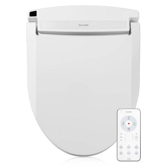 Brondell Swash Select EM617 Electric Bidet Seat for Elongated Toilets in White with Warm Air Dryer