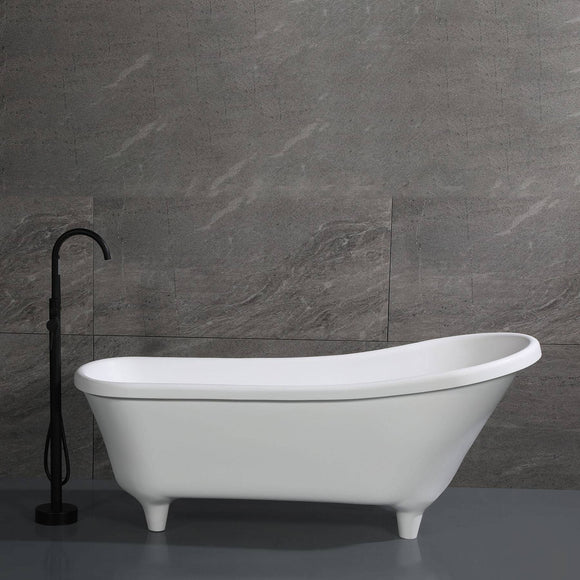 "ALFI Brand AB9960 67"" White Matte Clawfoot Solid Surface Resin Bathtub"
