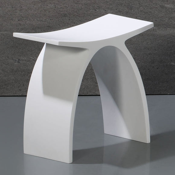 ALFI Brand ABST77 Arched White Matte Solid Surface Resin Bathroom/Shower Stool
