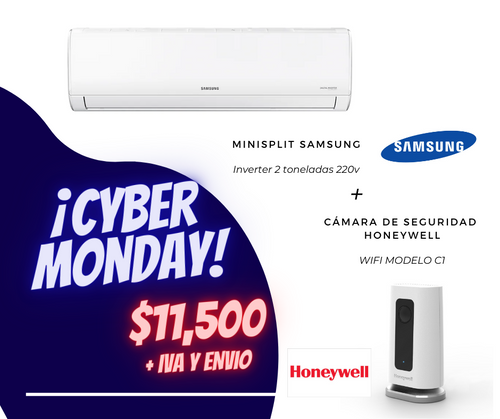 KIT BLACK FRIDAY | MINISPLIT SAMSUNG INVERTER 2T 220V + CAMARA DE SEGURIDAD C1 WIFI HONEYWELL