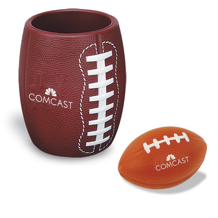 Football Can Holder with Football Stress Reliever