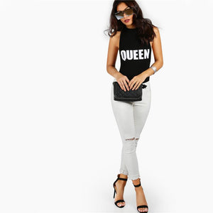 Queen Racerback Black Bodysuit