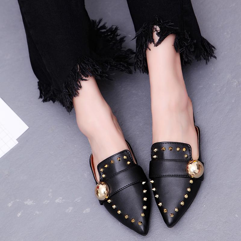 Black Rivet Mules