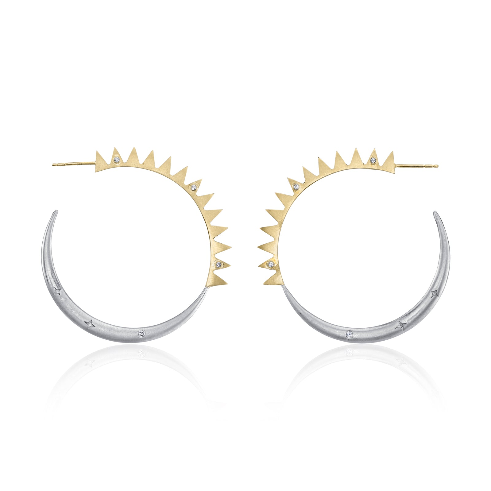 Large Sun Moon Hoop Earrrings