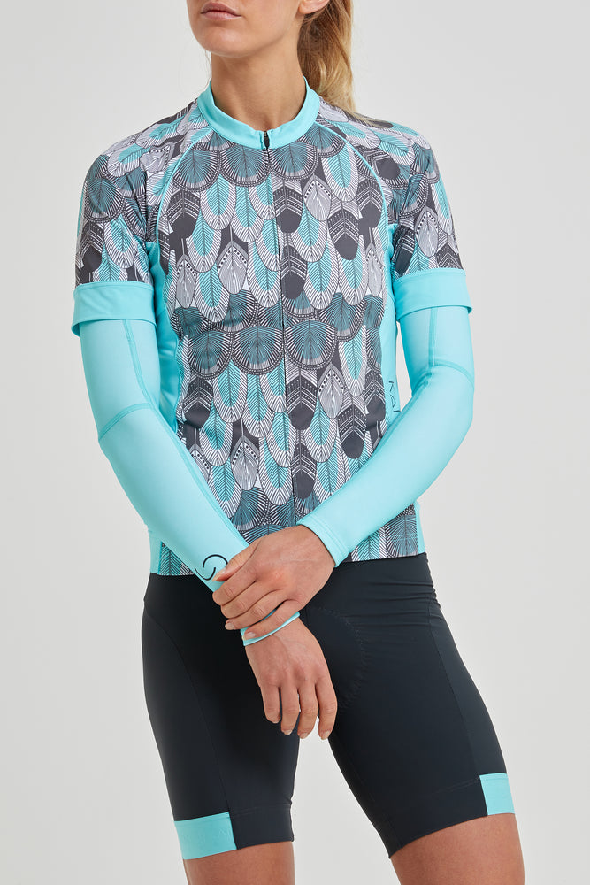 Shield Sleeves Arm Warmers (light blue matches Feather Print)