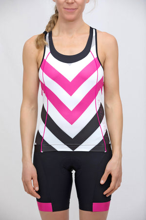 Power T-Back Tank Top (Caprio Black Chevron print)