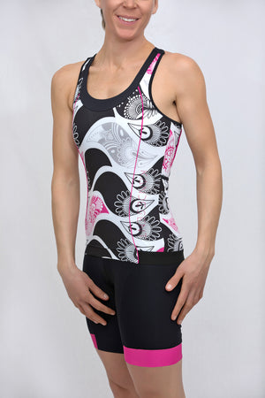 Power T-Back Tank Top (Black Flutter Print)