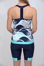 Power T-Back Tank Top (Mint Flutter Print)