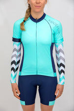 Shield Sleeves Arm Warmers (Caprio Mint Chevron print)