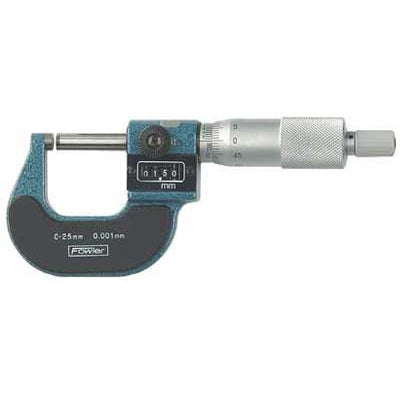 Fowler Digital Micrometers - 0 - 75mm - .001mm - Premium - Ratchet