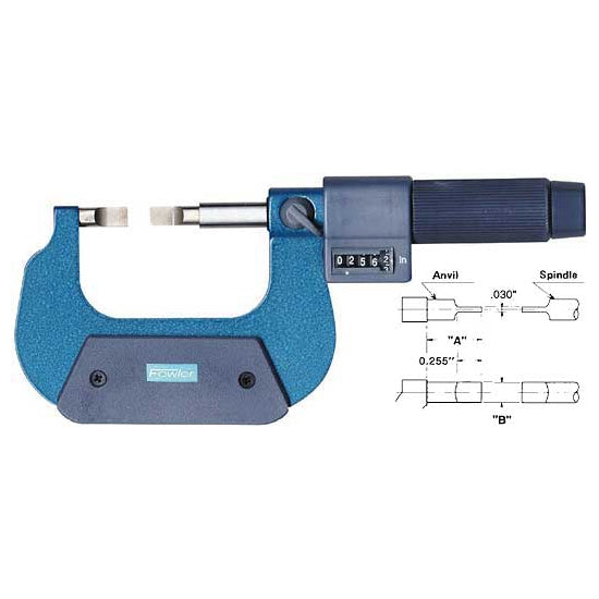 Fowler EZ  Read Micrometers - 25 - 50mm - .001mm - Metric - Blade - Friction - Dim. InchA Inch: 15.24mm, Dim. InchB
