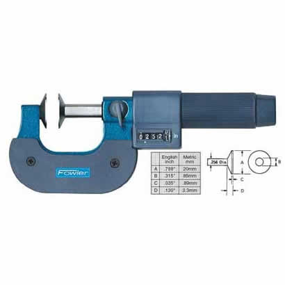 Fowler EZ  Read Micrometers - 3 - 4 Inch - .0001 Inch - Inch - Disc - Friction