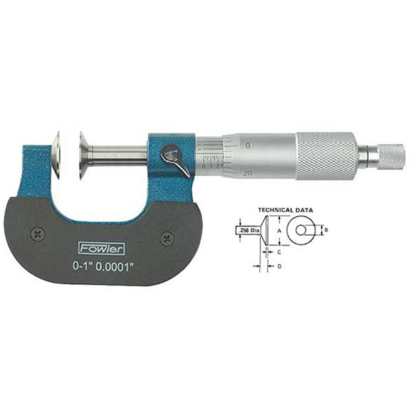 Fowler Standard Micrometers - 3 - 4 Inch - Inch - .001 Inch - Disc