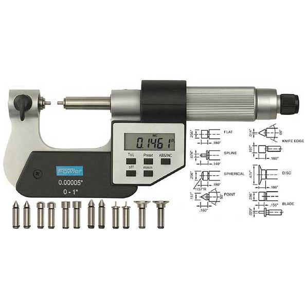 Fowler Electronic Micrometers - 0 - 1.25 Inch (0 - 30mm) - Bowers Indicating - .00015 Inch(4m) - 0.00005 Inch(1m)