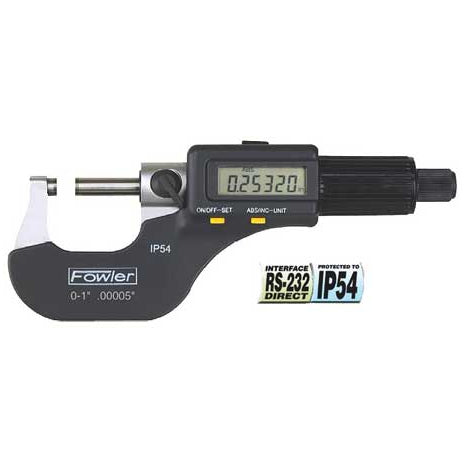 Fowler Electronic Micrometers - 0 - 12 Inch - 0 - 300mm - IP54 - Friction