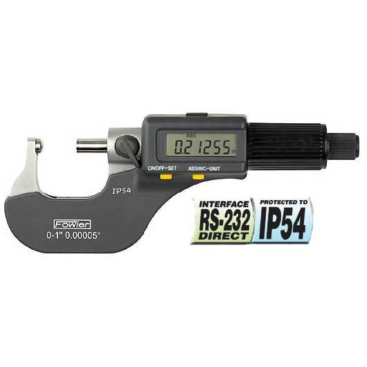 Fowler Electronic Micrometers - 0 - 1 Inch/25mm - Ball - Anvil - Friction