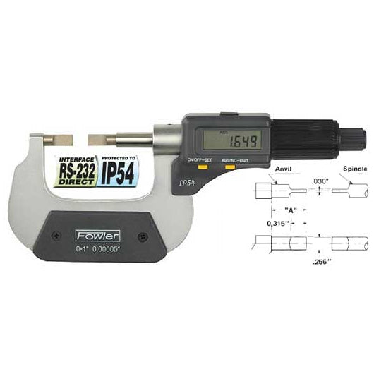 Fowler Electronic Micrometers - 1 - 2 Inch/50mm - Blade - Friction