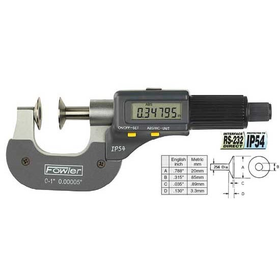 Fowler Electronic Micrometers - 1 - 2 Inch/50mm - Disc - Ratchet