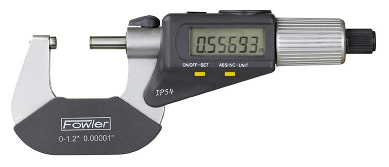 Fowler Electronic Micrometers - 0 - 1 Inch/0 - 25mm - IP54 - Friction