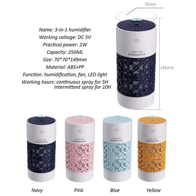 Portable Air Humidifier USB Aromatherapy Diffuser with LED Fan