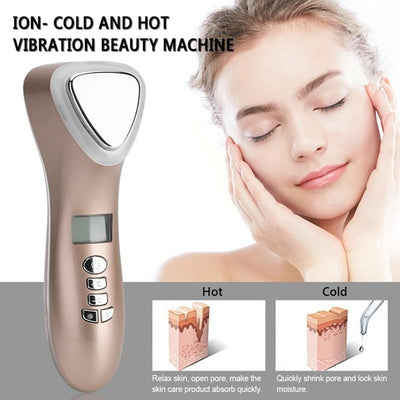 Ultrasonic Cryotherapy LED Hot Cold Hammer Facial Lifting Vibration Massager