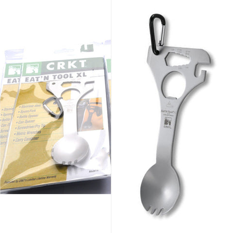 Hiking Camping Multifunction Spoon Fork Buckle Opener Outdoor Tool Equipment free shipping