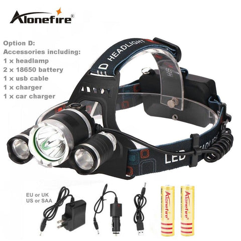 AloneFire HP83 CREE led headlamp XM L T6 XPE headlight 8000LM led head lamp camp hike emergency light fishing outdoor equipment