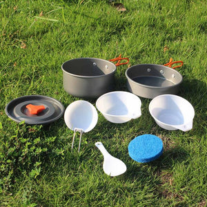 Aluminum Camping Cookware Ultralight Outdoor Cooking Picnic Set Camp Pot Pan For 1-2 People Picnic Tableware #E0
