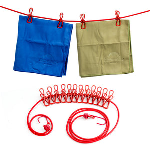 Portable Travel Stretchy Clothesline Outdoor Camping Windproof Clothes Line With 12 Clamp Clips Hooks Outdoor Tool