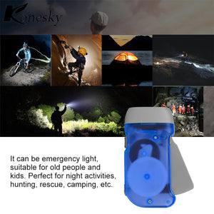 Mini 3-LED Flashlight Wind Up Hand Pressing Crank Flashlight Torch for Outdoor Emergency Camping Hiking