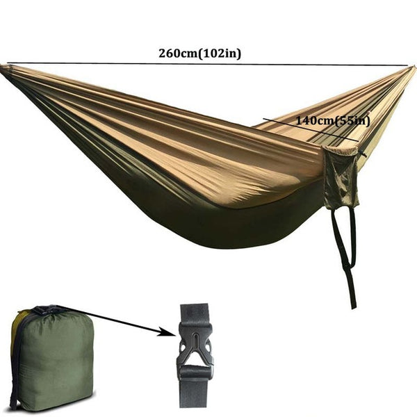 Solid Color Nylon Parachute Hammock  Camping Survival garden swing Leisure travel Double Person Portable outdoor furniture