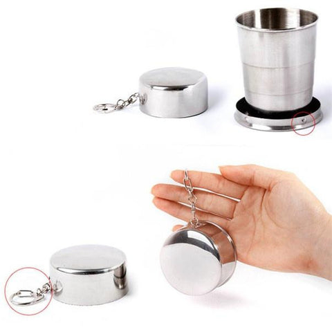 High quality 75ml Stainless Steel Portable Outdoor Travel Camping Folding Collapsible Cup mug