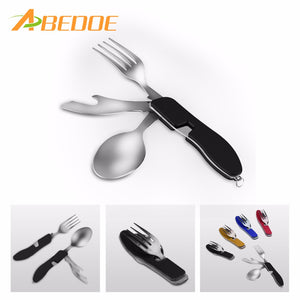 ABEDOE 4 in1 MultiFunction Tool Foldable Fork Spoon Knife Set Stainless Steel for Camping Travel Portable Outdoor Tableware