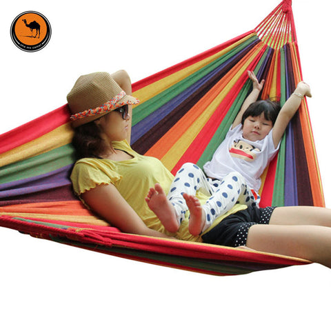 High Strength Portable Sleeping Hammock Backpacking Hiking Woven Cotton Fabric Tender Green Striped Camping Furniture
